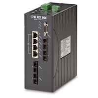 Hardened Managed Ethernet Switch, (4) 10/100-Mbps PoE+ (4) 100-Mbps MM SC, DIN-Rail, DC
