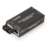 MultiPower Miniature Industrial Media Converter - 10/100/1000-Mbps Copper to 1000-Mbps Duplex Single-Mode Fiber, 10 km