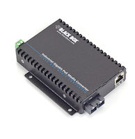 PoE Industrial Gigabit Ethernet Media Converter - Multimode, SC, 550-m