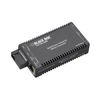 Industrial MultiPower Media Converter, 10-/100-Mbps Copper to 100-Mbps Single-Strand Fiber, 1310-nm TX/1550-nm RX, 20 km, SC