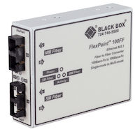 FlexPoint 100-Mbps Multimode to Single-Mode Fiber-to-Fiber Mode Converter, 1300-nm Multimode to 1300-nm Single-Mode, 5 km–28 km, SC to SC