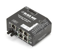 Hardened PoE PSE Switch, (5) 10/100 RJ-45, (1) Multimode ST, -48 VDC