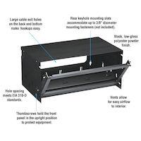 "Wallmount Cabinet - 6U, 20""W x 12""D, 10-32, Tapped Rails, 50-lb. Capacity"
