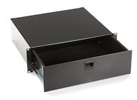 Rackmount Media Storage Drawer, 3U, Black