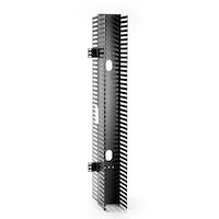 """Vertical Cable Manager, Finger Duct with Cover - 35""""H x 4.3""""W x 10.4""""D, Rackmount, Center-Mount, Double-Sided, Black"""