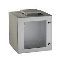 "ClimateCab NEMA 12 Wallmount Cabinet with Fan - 12U, 24"" Cube, Double-Hinged, Beige"