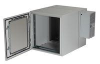 "ClimateCab NEMA 12 Wallmount Cabinet with 800-BTU AC - 12U, 24"" Cube, Double-Hinged, Beige"