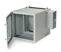 "ClimateCab NEMA 12 Wallmount Cabinet with 800-BTU AC - 12U, 24"" Cube, Double-Hinged, Gland Plates, Beige"