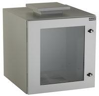 "ClimateCab NEMA 12 Wallmount Cabinet with Fan - 12U, 24"" Cube, Single-Hinged, Beige"