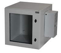 "ClimateCab NEMA 12 Wallmount Cabinet with 800-BTU AC - 12U, 24"" Cube, Single-Hinged, Beige"