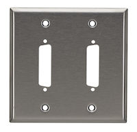 Wallplate - Stainless Steel, DB25, Double-Gang, 2-Port