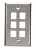 Keystone Wallplate - Stainless Steel, Single-Gang, 6-Port