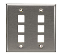 Keystone Wallplate - Stainless Steel, Double-Gang, 6-Port