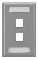 GigaStation Keystone Wallplate - Single-Gang, 2-Port, Gray