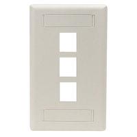 Wallplate Plastic Single-Gang 3-Port Keystone Office White
