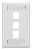 Wallplate Plastic Single-Gang 3-Port Keystone White