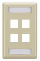 Wallplate Plastic Single-Gang 4-Port Keystone Electric Ivory