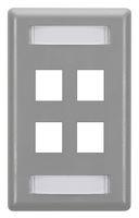 Wallplate Plastic Single-Gang 4-Port Keystone Gray