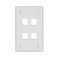 Wallplate Plastic Single-Gang 4-Port Keystone White