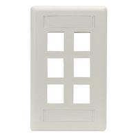 Wallplate Plastic Single-Gang 6-Port Keystone White