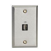 AV Wallplate - Stainless Steel, 1 USB, Type A