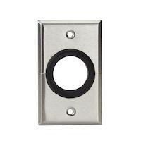 """AV Split Wallplate - Stainless Steel, 1-1/2"""" Rubber Grommet"""