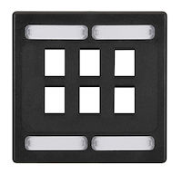 Wallplate Plastic Double-Gang 6-Port Black