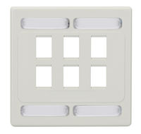 Wallplate Plastic Double-Gang 6-Port White