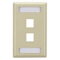 Wallplate Plastic Single-Gang 2-Port Keystone Ivory