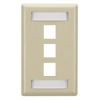 Wallplate Plastic Single-Gang 3-Port Keystone Ivory