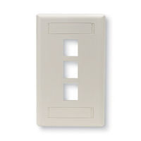 Wallplate Plastic Single-Gang 3-Port Keystone Office White