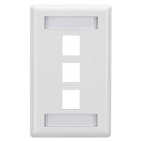GigaStation2  Keystone Wallplate - Single-Gang, 3-Port, White, 10-Pack