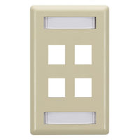Wallplate Plastic Single-Gang 4-Port Keystone Ivory