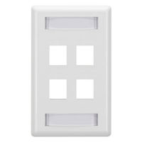 Wallplate Plastic Single-Gang 4-Port Keystone White