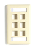 Wallplate Plastic Single-Gang 6-Port Keystone Ivory