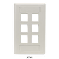 Wallplate Plastic Single-Gang 6-Port Keystone Office White