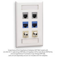 Wallplate Plastic Single-Gang 6-Port Keystone White