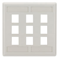 GigaStation2  Keystone Wallplate - Double-Gang, 9-Port, Office White