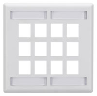 Wallplate Plastic Single-Gang 12-Port Keystone White