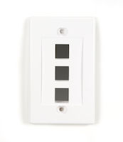 Connect Keystone Wallplate - Single-Gang, 3-Port, White, 5-Pack