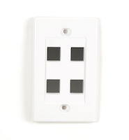 Wallplate Plastic Single-Gang 4-Port Keystone White 25-Pack